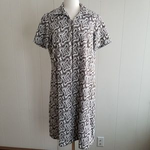 1960s Illegible Label Brown & White, Poly Dress